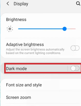 android step 3 - Enable dark mode