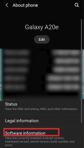 android step 5 - Select Software Information